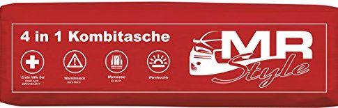 mit Warnweste, Erste Hilfe Set,Warndreieck + Safelight Rot – MR-Style 4in1 KFZ Safelight Verbandskasten Kombitasche