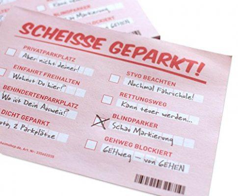 Scheiße geparkt! Lustige Notizzettel mit STVO Verwarnung für die Windschutzscheibe – Fake Knöllchen Strafzettel-Look für Falschparker | extra groß DIN A6 mit 105x148mm!