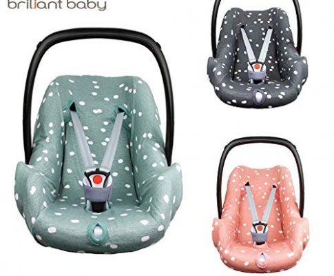 BriljantBaby BabyFit SPOTS ** Universal Schonbezug 100% Baumwolle Interlock-Jersey ** Für Babyschale, Autositz, z.B. Maxi Cosi CabrioFix, Citi, Pebble u.a. Stone Green