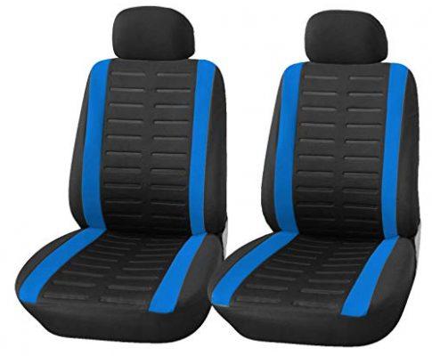 Upgrade4cars Auto-Sitzbezüge Vordersitze Schwarz Blau   Auto-Sitzschoner Set Universal für Fahrersitz & Beifahrer mit Seitenairbag Öffnung   Auto-Zubehör Innenraum