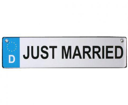 Auto Kennzeichen JUST MARRIED Metall 28,5 cm Hochzeit Wedding