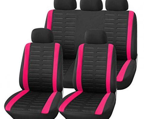 Upgrade4cars Auto-Sitzbezüge Set Pink Schwarz   Auto-Schonbezüge Rosa Universal   Auto-Zubehör Innenraum B1-pink