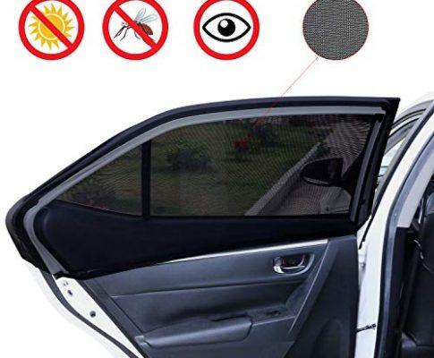 URAQT Sonnenschutz Auto Baby Kinder, Sonnenblende Auto Sonnenschutz 2 Stück mit UV Schutz Baby Kinder werdenvor Sonnengeschützt Autoscheiben Sonnenschutz geeignet für Autos und SUVs – Schwarz