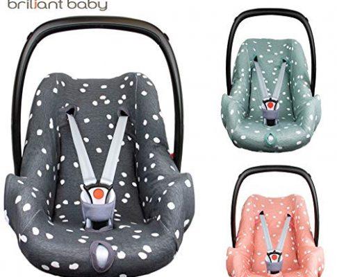 BriljantBaby BabyFit SPOTS ** Universal Schonbezug 100% Baumwolle Interlock-Jersey ** Für Babyschale, Autositz, z.B. Maxi Cosi CabrioFix, Citi, Pebble u.a. Pink Grey