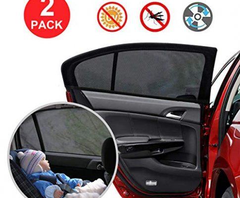 YIHAIC Sonnenschutz Auto,2er-Set Sonnenblende Auto Baby, Kinder Auto-Sonnenschutz UV Schutz Sonnenblenden für Autoscheiben Sonnenschutz Saugnäpfen mit Aufbewahrungstasche Schwarz 110 x 50cm