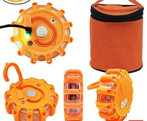 USB Wiederaufladbar Warnblinkleuchte LED Warnleuchte Warnlicht Rundum Warn Sicherheitsflare Blinklicht mit Magnet für Auto LKW KFZ Fahrrad Notfall Pannenhilfe Ergänzung zum Warndreieck Gefahrenstellen