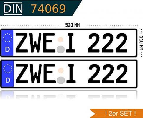 MBH-Shop KFZ-Kennzeichen EU 520 mm x 110 mm Autoschild mit Wunschkennzeichen 2 Stück