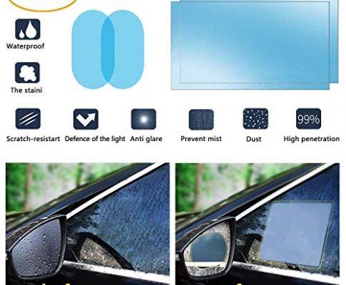 oFami Auto Rückspiegel Wasserdicht Schutzfolie, Anti-Fog Wasserdicht Hoch Clear Schutzfoliemicro-Nano Beschichtung Regendicht und Wasserdicht Hoch Clear Schutzfolie, 2 Pack Oval+Rec200&150