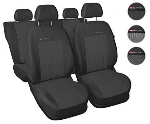 Carpendo Sitzbezüge Auto Set Autositzbezüge Schonbezüge Dunkelgrau-Grau Vordersitze und Rücksitze mit Airbag System – Elegance P1