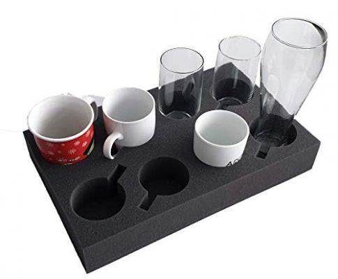 Tassenhalter Glashalter Gläserhalter Platz für bis zu 8 Stück – Schaumstoff für Camping Wohnwagen Wohnmobile Boote Schiffe Tassenhalter XL
