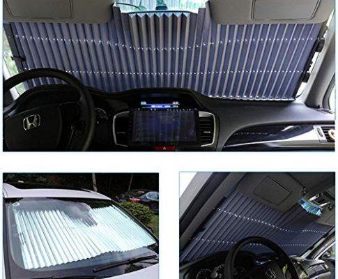 Womdee Auto Sonnenschutz Frontscheibe einziehbar mit Saugnäpfen und Einhand-Einrollfunktion Anti UV Windschutzscheibe, 150 * 65Cm Dehnbar für Frontscheibe 65cm