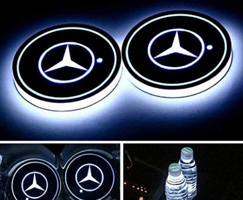 PRXD 2pcs LED Auto Cup Halter Matte Pad Wasserdicht Flasche Getränke Untersetzer für Universal Auto zur Autodekoration Stimmungslicht Innenraumbeleuchtung wasserdicht Mercedes