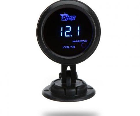 KKmoon Digitaler Voltmeter für Auto, Spannungsmesser, 2Zoll LCD, 52mm, 0~ 15V, Warnlicht Schwarz