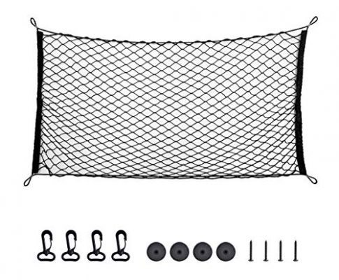 Kofferraum Netz,AIEVE Gepäcknetz Auto Netz Universal Schutznetz Trennnetz Elastisch Nylon Multifunktion für Kofferraum SUV LKW-Ladefläche PickupSchwarz
