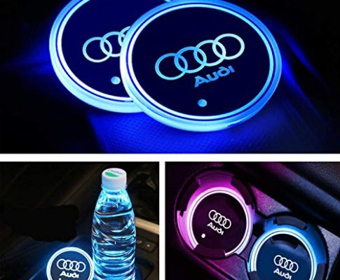 Interestingcar LED Auto Getränkehalter Lichter, LED Auto Logo Getränkehalter Pad wasserdichte Flasche Getränke Coaster LED Tasse Matte Auto Atmosphäre Lampe 2 STÜCKE fit Audi