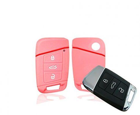 Etui für Keyless – Silikon Schlüsselschutz – CC, Golf, Tiguan, Typ 3G 3-Tasten Autoschlüssel – Wagners Hülle für VW Passat B8 – Go rosa/rot