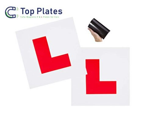 Top Plates Premium 2 Stück komplett magnetische L-Plates für Fahreranfänger Hinterlässt Keine Schäden an der Lackierung, kein Abfliegen bei hoher Geschwindigkeit.