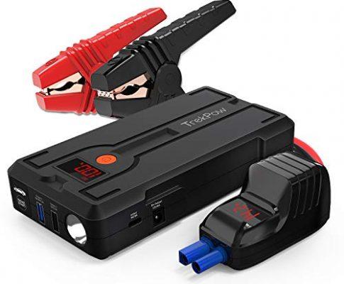 TrekPow G39 Starthilfe Powerbank,1200A Spitze3.GenerationmitQDSPmit intelligentem kabel für Benzin bis zu 6,5L und Dieselmotoren 5,5L, LED-Taschenlampe, LCD Bildschirm