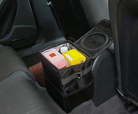 ABEDOE Auto-Mülleimer, Faltbarer Auto-Mülleimer mit Deckelaufbewahrung Seitentasche Aufhängeriemen Spritzwassergeschützt