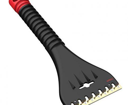 AUPROTEC Eiskratzer mit Doppel Klinge Messing + Polycarbonat und Eisbrecher Zacken AE 1 schwarz-rot