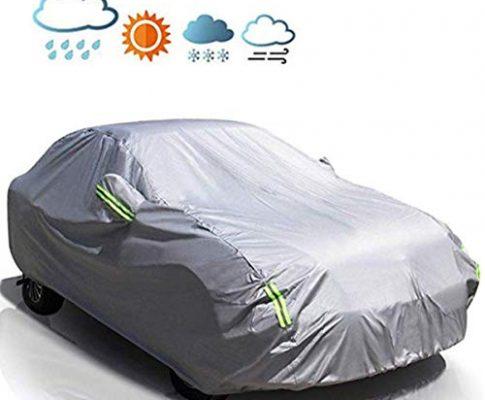 MATCC Autoabdeckung Wasserdicht Verbesserter UV-Schutz Limousinenabdeckung Universal Vollgarage Auto Abdeckung 440 * 180 * 160cm