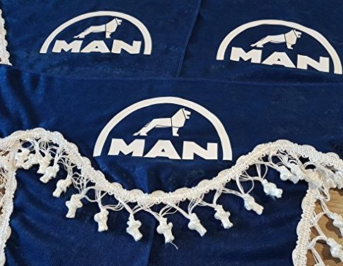 3-Teilig Set Blau Gardinen mit Weiß Bommeln UNIVERSAL GRÖSSE für MAN Alle Modelle LKW Zubehör Dekoration Innenraum Vorhänge Plüsch Stoff