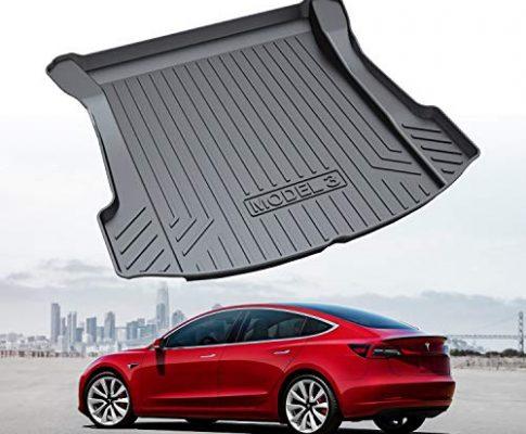 RUIYA Kofferraumwanne Kofferraummatte Schalenmatte Angepasst für Tesla Model 3 Cargo Liner hinten Schwarzer Gummi Wasserdicht Antirutsch, einfach zu reinigen