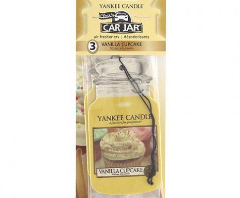 Yankee Candle Autoduft Car Jar, bis zu 4 Wochen Duft, Vanilla Cupcake, 3Stück Bonuspackung