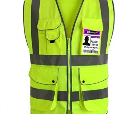 JKSafety Neun Taschen Unisex Hohe Sichtbarkeit Warnweste Reflektierende Weste Reißverschluss EN ISO 20471 Gelb X-Large