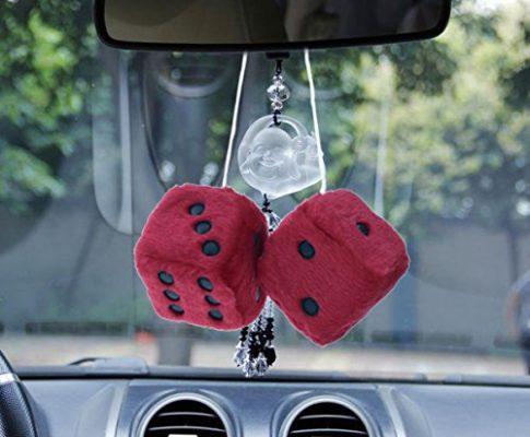 WINOMO Red Hanging Dice Charm Auto Auto Rückspiegel Hanging Zubehör für Auto Dekoration