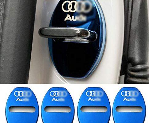 Geeignet für Audi A3 A4L A6L Q3 Q5 Türschlossabdeckung Türschloss Edelstahl Rostabdeckung,Blue – YYD 4 STÜCKE Audi Edelstahl Türschlossabdeckung