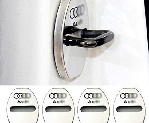 YYD 4 STÜCKE Audi Edelstahl Türschlossabdeckung – Geeignet für Audi A3 A4L A6L Q3 Q5 Türschlossabdeckung Türschloss Edelstahl Rostabdeckung,Silver