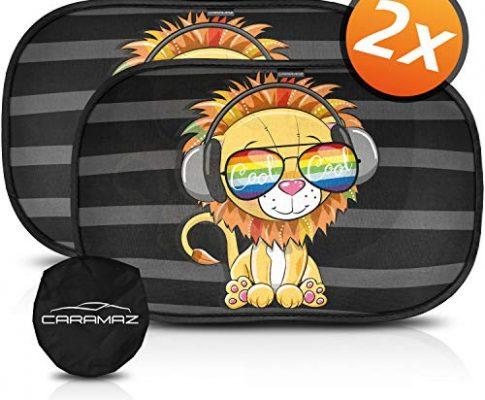 2 Stück selbsthaftende Sonnenblende Auto für Kinder und Haustiere mit Löwen Motiv – Sonnenschutz Auto Baby mit UV Schutz EXTRA DARK