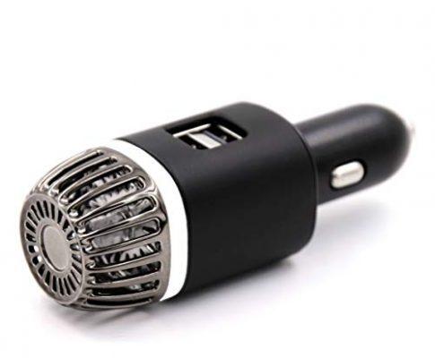NIOSS Auto-Luftreiniger Ionisator mit 2X ultraschnellen USB-Ladeanschlüssen und weißem Atemluftlicht. Auto-Lufterfrischer, Ionisator, Ionen-Luftreiniger – entfernt Pollen, Rauch