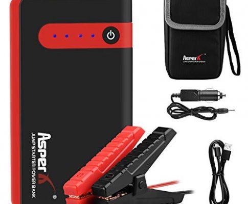 AsperX Starthilfe Powerbank, 500A Auto Starthilfe bis zu 4.5L Benzin, 2.5L Diesel Auto Powerbank 12V Autobatterie Anlasser mit USB-Schnellladung, LED Taschenlampe