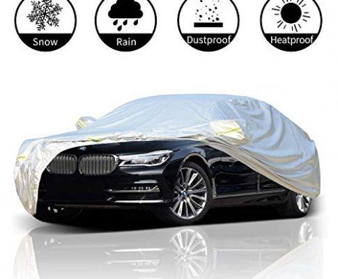 FLOWood Auto Abdeckplane Vollgarage Autoabdeckung wasserdicht Anti-UV für Auto Polyester Silber 480 x 175 x 120 cm