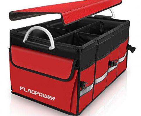 FLAGPOWER Kofferraumtasche mit Deckel Multi Fächer Auto Organizer Faltbox Aufbewahrung mit Seitentaschen Wasserdicht Kofferraumbox für Auto SUV Minivan Truck, Rot MEHRWEG